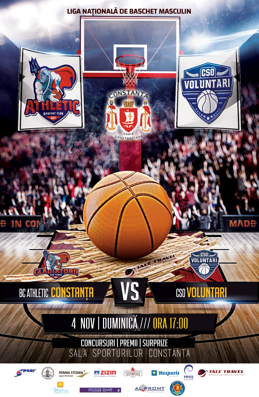 afiș meci baschet masculin BC Athletic Constanța vs. CSO Voluntari 04.11.2018