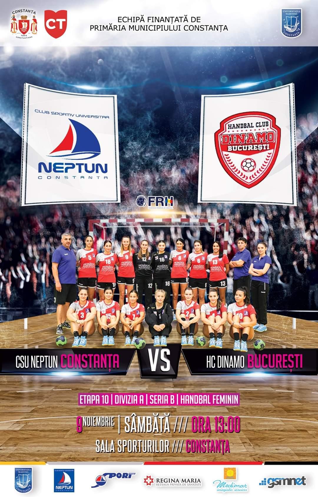 afis CSU Neptun Constanta vs. HC Dinamo Bucuresti 09.11.2019