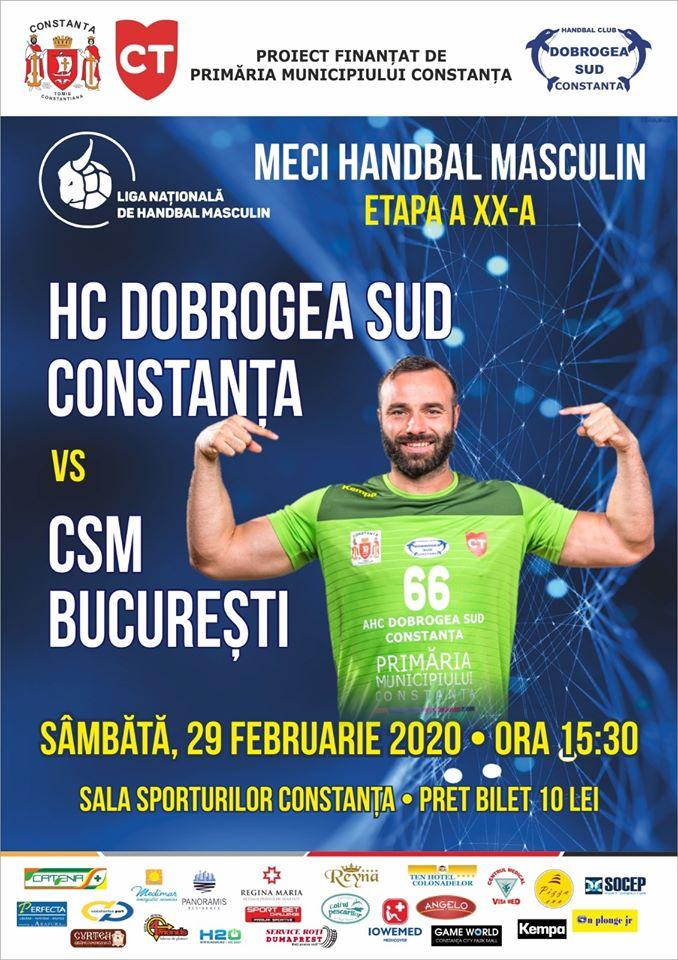 afis HC Dobrogea Sud Constanta vs CSM Bucuresti 29.02.2020