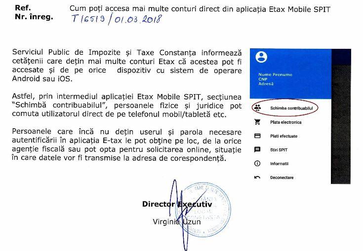 SPIT Cum poți accesa mai multe conturi direct din aplicația Etax Mobile SPIT